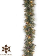 9 FT. Long Frosted Tips Christmas Garland com 50 luzes LED (MY205.447.00)