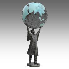 Grande Figure Statue Terre Docteur Bronze Sculpture Tpls-073