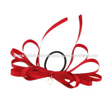 Red Satin Hair Ornaments with Overlapped Bows and Imitation Pearls Set, Comes in Various Colors
