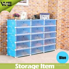 Gabinete de almacenaje del organizador del zapato plástico de la exhibición de 15 cubos