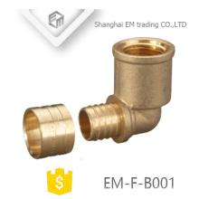 EM-F-B001 90 graus de latão Rosca Fêmea e Macho Circular dente Cotovelo Montagem