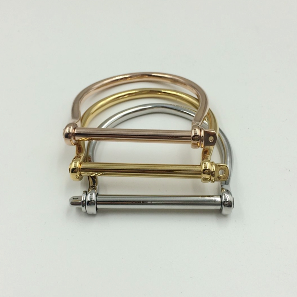 18K Gold Plated D Shape Screw Cuff Bangle