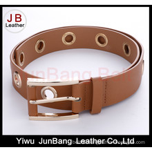 Fashion Earth Color Women PU Belt with Metal Round Holes