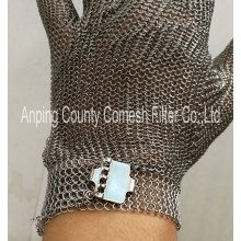 Stainless Steel Ring Mesh Textile Strap Glove