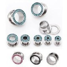 Punk Rhinestone Crystal Plugs Piercing Gauge Screw Tunnels Ear Expander Stretcher Ear Plug Gauge Tunnel
