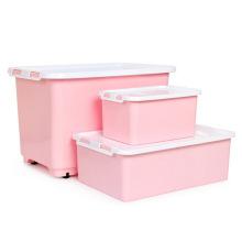 Recipiente de armazenamento de plástico colorido elegante para armazenamento doméstico
