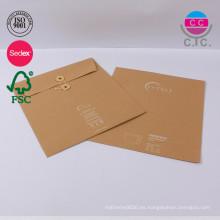conjunto personalizado de 2 bolsas de papel kraft marrón china para archivo