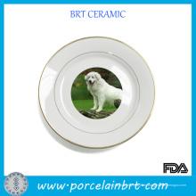 Zarte dekorative Keramikplatte mit Hund Muster