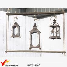 3 Glasfenster Holz Vintage Kerze hängende Laterne