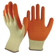 NMSAFETY 10 calibre jaune polycotton liner froissé gants de construction de sécurité enduits de latex