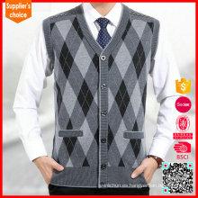 Nuevo patrón de tejido de punto de chaleco de argyle chaleco de las lanas del suéter de los patrones que hace punto