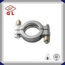 Braçadeira sanitária para tubos de alta pressão em aço inoxidável