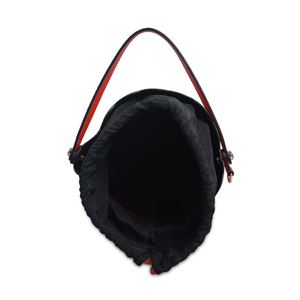 genuine leather large capacity simple style drawstring bucket bag