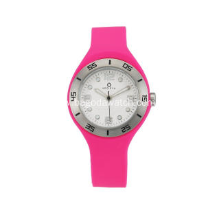 Stainless steel rose silicone strap women watches