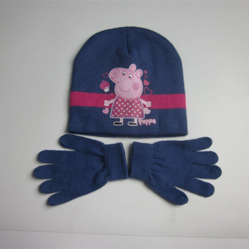 Hot Sale Children Peppa Pig Hat Gloves