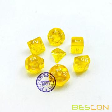 Bescon Mini Translucent Polyhedral RPG Dice Set 10MM, Small RPG Role Playing Game Dice Set D4-D20 in Tube, Transparent Yellow
