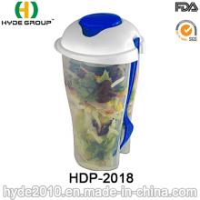 Atacado para ir recipiente Salad Shaker com garfo (HDP-2018)