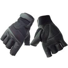 NMSAFETY Mécanique Daim / gants de travail en peau de chèvre Manchette à boucle magique sans doigts Résistant à l'abrasion