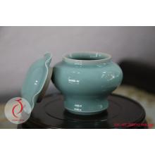 Ceramic Carved Floral Celadon Ginger Jar