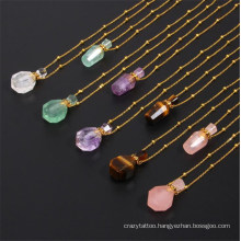 Cheap Natural Gemstone Bottle Colorful Crystal Perfume Bottle Female Essential Oil Pendant Necklaces