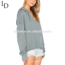 Custom lady cotton blank oversized sweatshirts with hood plain women hoodies