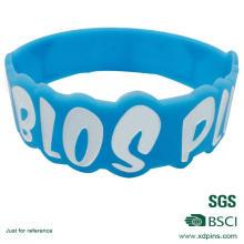 Pulseira de material de silicone de cor azul personalizado