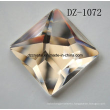 Pujiang Factory Square Flat Back Checkerboard Glass Stone for Wedding Dress