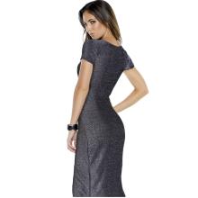 Deep V slit the hip length dress