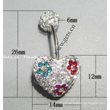 Gets.com anneau de ventre cristallisé avec crochet
