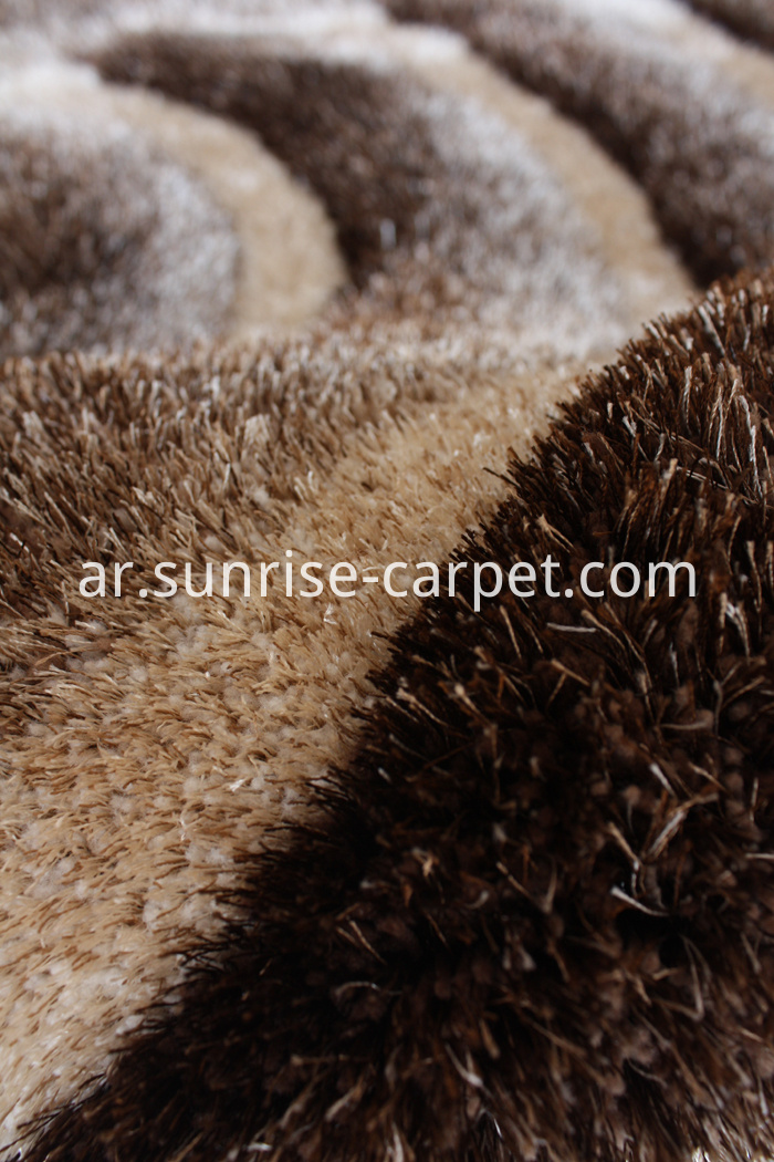 Polyester Shaggy Rug 3D Design Brown and Beige Color