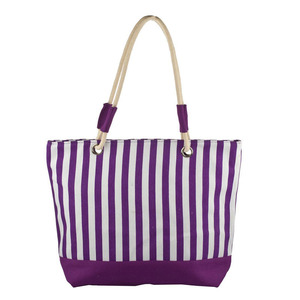 Modern Large Purple Stripes Women Beach Bag