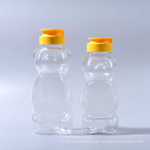 330g Pet Plastic Bear Shape Honey Bottles with Silicone Valve Caps (EF-H03330)