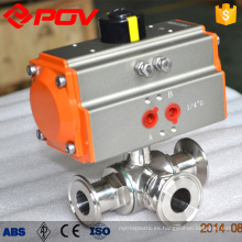 Pneumatic sanitary clamp ball valves t type