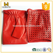 Classic red soft lambskin gloves women summer fingerless leather driving gloves