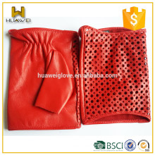 Classic red soft lambskin gloves women summer fingerless leather driving gloves