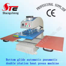 T-Shirt Printing Machine Pneumatic Double Station Heat Press Machine 40*60cm Bottom Glide Automatic Heat Transfer Machine CE Certificate
