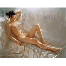 Pintura desnuda hermosa desnuda de la muchacha china