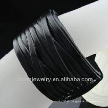 Alta qualidade moda couro cordão tecido wrap pulseiras BGL-003