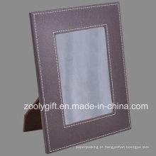 5 X 7 Brown moldura de couro cosido em pele