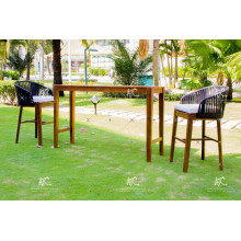 Top Selling Resin Rattan Bar Set Acacia Wooden Frame for Outdoor Use Wicker Furniture
