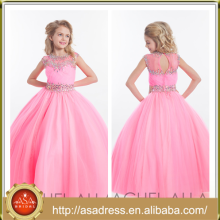 ARC-11 Pretty Pink Full Length Vestido de menina com flor Tulle Cap Sleeve Hand-Beaded Keyhole Back Teenage Girls Dresses