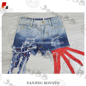 cotton distressed 4th of July Denim Shorts