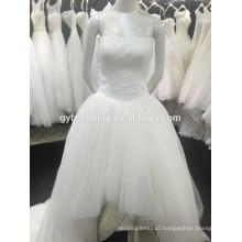 The Latest Design Simple Strapless Tulle Skirt Low Back Short Front Long Back Wedding Dresses 1512116