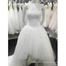 O mais recente design simples sem alças de saia de tuleira baixa parte traseira curta frente longo vestido de noiva de volta 1512116