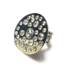 Top Quality Crystal Stretch Ring round shape made of zinc alloy rhodium silver Tone