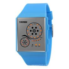 Relógio de quartzo jovem colorido com impermeável