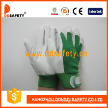 Pig Grain Leather Green Elastic Cuff Pig Leather Gloves (DLP414)