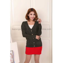 Women V-Neck Long Sleeve Button Cadigan