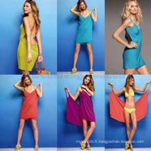 En gros pur couleur serviettes de bain sexy profonde V robe de plage pour les femmes multi-purpose creative robe wrap jupe
