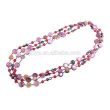 Collar de perlas con cuentas de piedras preciosas anudadas a mano
